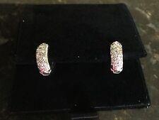 Pave diamond Huggies Hoop Earrings 14k White Gold .5 Carat SI1 H