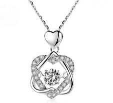Love Heart 925 Sterling Silver Micro-inlay CZ Star Moving Pendant Necklace w 18""