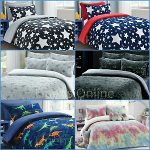 Teddy Bear Fleece Kids Duvet Cover Set Sherpa Thermal Warm Boys Girls Bedding