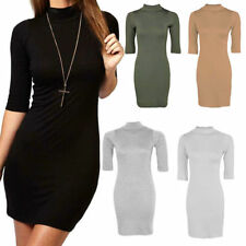 Viscose Polo Neck 3/4 Sleeve Casual Dresses for Women