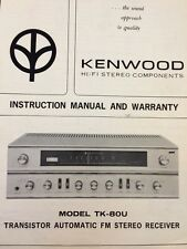 """Kenwood TK-80U Stereo Receiver """"Original"""" Owners Manual 9 Pages with schematic"""