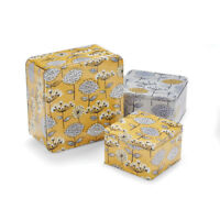 Cooksmart Set of 3 Retro Meadow Square Cake Tins Storage Floral Yellow Grey
