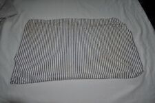 "VINTAGE  BLUE TICKING STRIPE  PILLOW COVER  FABRIC 25"" X 17"" VGC"