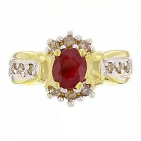 14k Yellow Gold Oval Ruby & Champagne Diamond Cluster Ring Size 6.5