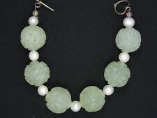 "FINE CARVED 20 mm JADE BEADS w/ 8 mm PEARL STERLING TOGGLE BRACELET~7.75""/63.9 g"