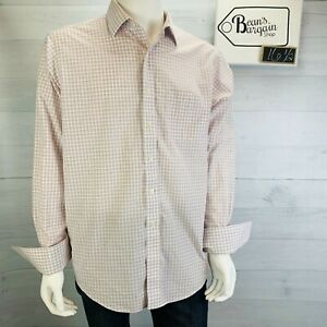 Brooks Brothers Non Iron Dress Shirt French Cuff Blue Graph Plaid Size 16.5 - 35