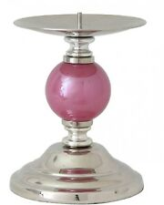 Pink Pearl One Ball Candlestick Chrome Metal Decorative Candle Holder
