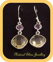 Earrings 925 Sterling Silver Semi-Precious Natural Lemon Quartz+Amethyst