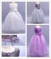Flower Girl Princess Pageant Wedding Bridesmaid Party Communion Sequin Dress