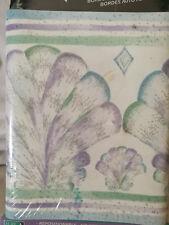 New Purple Teal Seashells Wallpaper Border Impact Self Adhesive 5 yards
