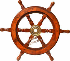 Vintage Brass Hub Ship/Boat Steering Wheel Wood Pirate Nautical Finish Maritime