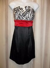 WISHES WISHES WISHES SATIN Black Red Zebra PROM PARTY Jr. Women's Dress Size 11