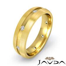 Mens Diamond Solid Ring 18k Yellow Gold Matt Finish Eternity Wedding Band 0.20Ct