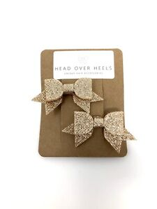 Gold Sparkly Bow Hair Clips x2 Girls Xmas Party Bridesmaid Flowergirl