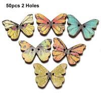 50pcs 2 Holes Mixed Butterfly Wooden Buttons Sewing Scrapbooking DIY GA