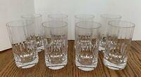 "8  Tall Clear Cut Crystal Paneled Tumbler Glasses 5 3/8"" T Glassware Barware"