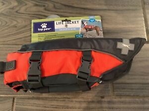 New TOP PAW Bright Orange Neoprene Reflective Dog Life Jacket S Size - 15-30 LBS