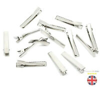 ALLIGATOR HAIR CLIPS 45mm SILVER METAL CROCODILE FOR BOWS BARRETTE Z289