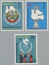 LAOS N°743/745**  Année de la Paix 1986,  International Peace Year Sc#752-754 NH