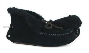 UGG Australia Alena Black Fur Suede Slippers Womens Size 7 *NIB*