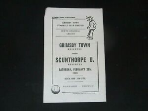 1964-65  NORTH REGIONAL RESERVES GRIMSBY TOWN  v  SCUNTHORPE UNITED