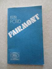 Original 1978 Ford Fairmont car owner's manual