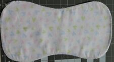 Flannel Burp Cloths Large Soft Double Layer Handmade Neutral Hearts Green Blue