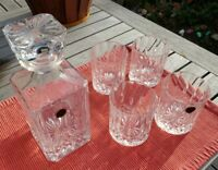 RCR Royal Crystal Rock Opera Decanter/Stopper with 4 Old Fashion Glasses New