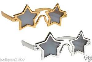 STAR FANCY DRESS SPECS GLASSES SUNGLASSES 70s 80s ELTON JOHN ROCKET GOLD SILVER