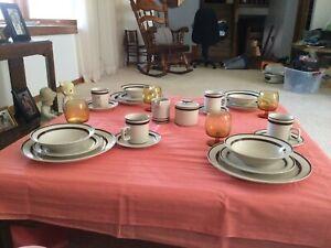 Vintage 1970s Orbit Stoneware 221 Brown dinnerware complete set -see pictures