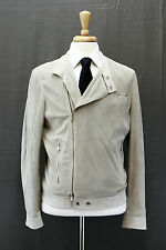 NWT. $5395 Brunello Cucinelli Men's 100% Leather Suede Perforated Moto Jacket M