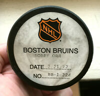 BOBBY ORR NHL GOAL PUCK-100th POINT of 72/73--3rd GOAL of HAT TRICK-ORIGINAL COA