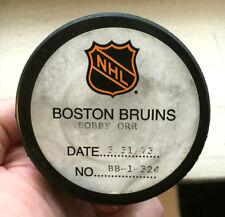 BOBBY ORR NHL GOAL PUCK-100th POINT of 1972/73 SEASON--3rd GOAL OF HAT TRICK-COA