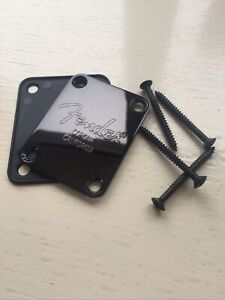 Fender ST Corona California Black stamped Neck Plate Includes Gasket!