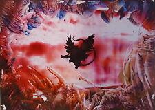 Dragon Encaustic wax art picture original art work fantasy collectable gift xmas