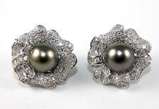 Black Tahitian Pearl & Diamond Flower Pave Earrings Platinum 10mm 1.30Ct