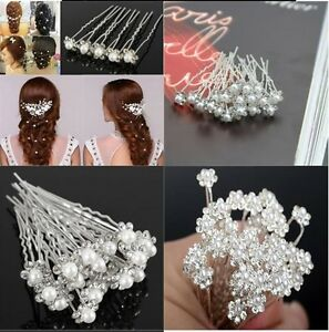Wedding Pins Bridal Pearl Hairpins Flower Crystal Rhinestone Diamonte Grips Lot
