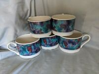 Sango 5PC Coffee Espresso Tea Mug Set Jewel cups Deborah Mallow #4819 6/90
