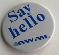 Vintage Pan Am Airlines Say Hello Lapel Pin Button