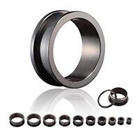 8-30mm Flesh Tunnel Ear Plug Horn Rockabilly Cube Black White  pg216