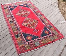 Turkish Rug 46''x84'&# 039; Wool Carpet Primitive Rug Tribal Vintage Rug 119x214cm
