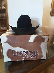 NEW Resistol Self Conforming XXXX Beaver 7 1/4 Long OVAL Black Cowboy Hat
