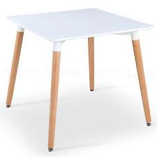 Eiffel Small White Designer Dining Table 80cms Square Wood Legs Art Deco