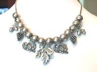 vintage silver tone cornucopia acorn pinecone leaf fall necklace