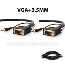 50 FT SVGA SUPER VGA M/M Male Monitor Cable 3.5mm audio Monitor TV 50'