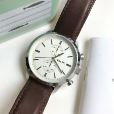 Fossil Watch * FS4865 Townsman Index Markers Chrono Brown Leather Men COD PayPal