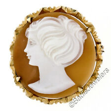 Vintage 18K Rosy Gold Round Carved Shell Cameo w/ Etched Frame Brooch Pendant