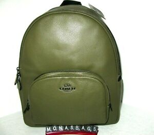 Coach Kelp Green Pebbled Leather Court Large Backpack 5669 Side Pockets NWT $450