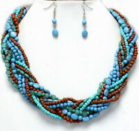 """Women Necklace Earrings Turquoise Blue 19""""-21"""" Twisted Acrylic Bead Jewelry Set"""