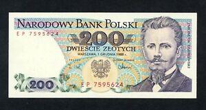POLAND  200 ZLOTYCH  1988 EP  PICK # 144c UNC.